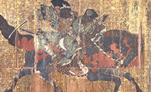 Votive tablet with illustration of Benkei on horseback